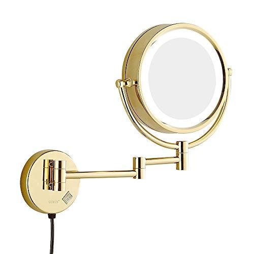 Rasierspiegel, Wandspiegel, LED-Schminkspiegel, 5-fache Vergrößerung Teleskop-Klappspiegel für Badezimmer - doppelseitiger Spiegel - Gold