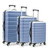 U.S. Traveler Cypress Colorful 3-Piece Hardside Spinner Luggage Set, Sky Blue