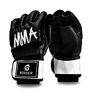 10oz Fingerless Boxing Leather Gloves,MMA Boxing Gloves for Punching Heavy Bag Kickboxing Muay Thai Martial Arts Trainer Mitts Adults and Children Universal -Black