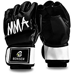 MMA Guantoni Da Boxe Mezzo Dito per Uomo Kick-boxing Sandbag UFC Training - Nero