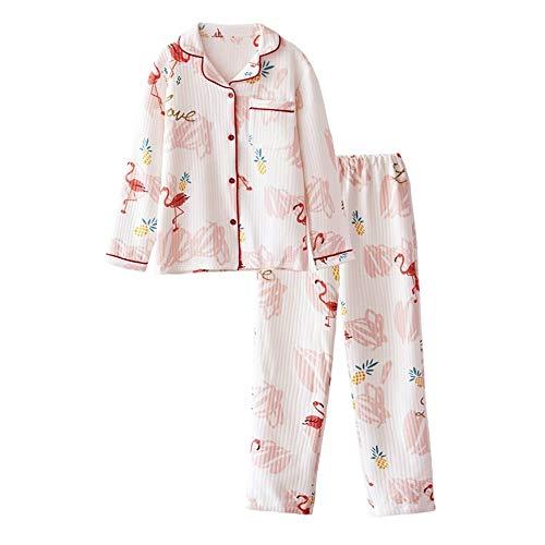 DUKUNKUN Flamingo Print Pyjamas Frauen Herbst Revers Verdicken Warme Freizeitkleidung,S - Flamingo Pyjama