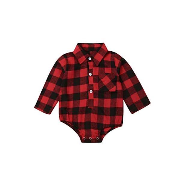 Mono Bebé de Manga Larga Camisa de Franela a Cuadros Rojo y Negro para bebé recién Nacido Unisex Mameluco de Otoño… 2