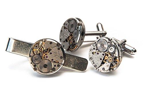 Jeff Jeffers Handmade Pince à cravate et boutons de manchette en forme de mécanisme de montre avec sachet cadeau