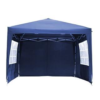 Autofather blau 3X 3M POP-UP-Pavillon, wasserdicht, mit 4Seitenwangen 2Windows Heavy Duty Faltbar Outdoor Garten Partyzelt Markise Himmel mit Tragetasche