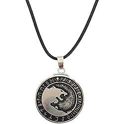 Collar Vikingo Del Estilo Retro, Nuevo Colgante De la Cabeza Nórdica Del Lobo Para Los Hombre - AjUstable- Joyas de Los Lobos de la Runas Nórdicas de Odin