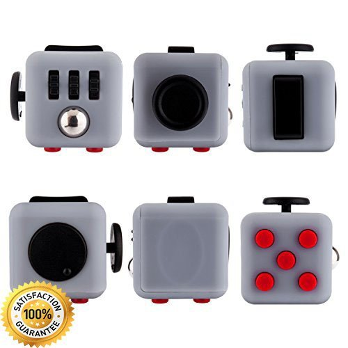 ENJOY JuYi Fidget Cube Relieves Stress And Anxiety for Children and Adults (gray red)