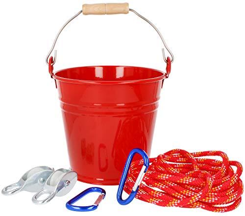 com-four® Flaschenzug mit Eimer, Seilzug für Kinder (01 Stück - Seilwinde mit Eimer)