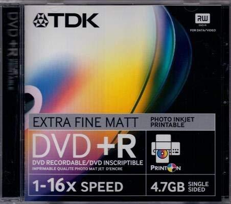 TDK DVD+R 4,7GB 16xSpeed 120Min mit Ink-Jet bedruckbare CDs/DVDs mit Hülle (20Stück) 120 Gb-dvd-cd