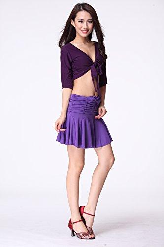 FaithYoo Damen Schößchen Kleid One size Violett