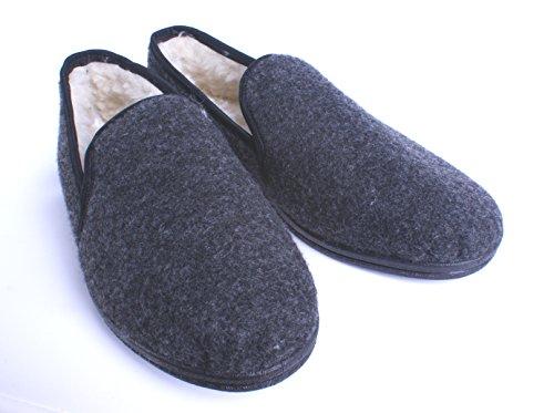 Mokassins mit Wolle Innen / Hausschuhe aus Filz mit gummisohle / Bequem und warm / Größe 36-48 Grau / Filz