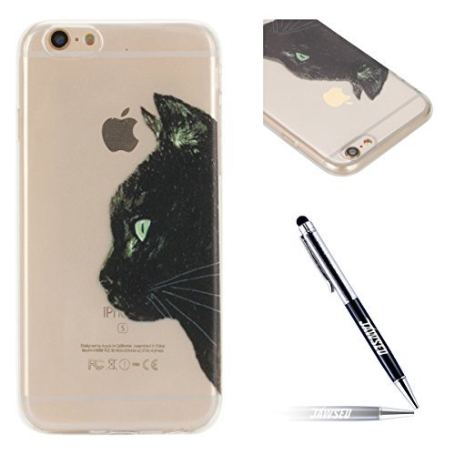 JAWSEU Coque Etui pour iPhone 6/6S 4.7,iPhone 6 Coque en Silicone Transparent,iPhone 6S Souple Coque Ultra Slim Clair Etui Housse,iPhone 6S TPU Gel Protective Cover,Ultra Mince Flexible Soft Clear Cas Tête de chat