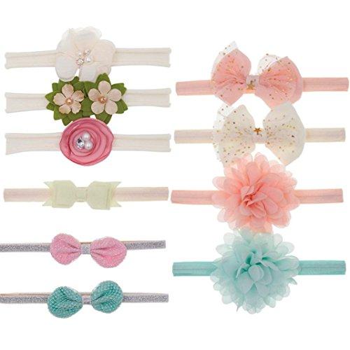 Huhu833 10 Stück Baby Stirnbänder Kinder Floral Stirnband Haar Mädchen Baby Bowknot Zubehör Haarband Set (F)