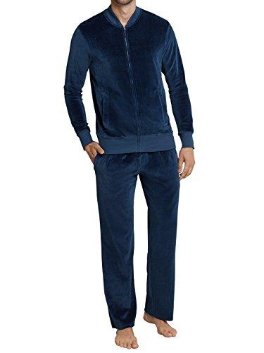 Schiesser Herren Freizeitanzug Velours Stehkragenjacke lange Hose - 159727, Größe Herren:56;Farbe:indigo (Blau Velour Hose)