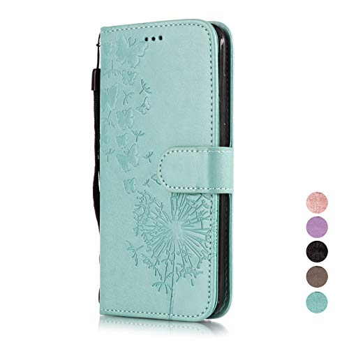 E-Panda Apple iPhone 6S Plus 6 Plus Hülle Löwenzahn Blau Blumen Muster Design PU Leather Wallet Cover Flip Case Handyhülle Lederhülle Etui schutzhülle mit Kartenfach 360 Grad Stoßfest (I Cover Phone Elegante)