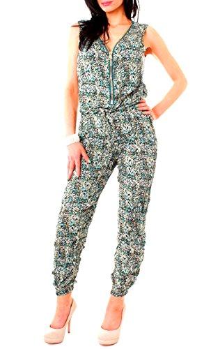 Easy Young Fashion Träger Overall lang mit Reissverschluss gemustert türkis/creme