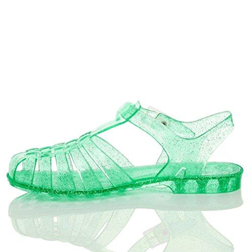Damen Flache Gummi Sandalen Mit Schnalle Retro 90er Flip Flops Schuhe Grösse Grün, durchsichtig mit Glitzereffekt