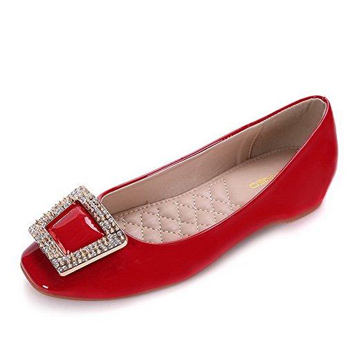 AalarDom Damen Weiches Material Ziehen Auf Quadratisch Zehe Niedriger Absatz Pumps Schuhe Rot-Inner Hohe Absatz