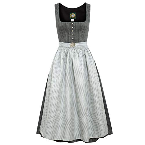 Hammerschmid Damen Trachten-Mode Midi Dirndl Pillersee in Anthrazit traditionell, Größe:44, Farbe:Anthrazit