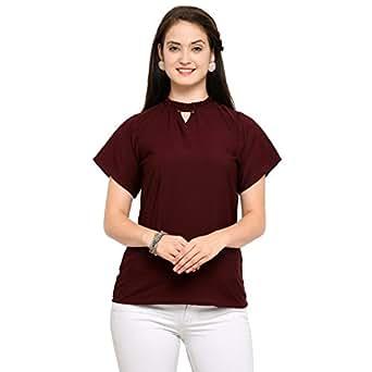 J B Fashion Women's Plain Regular Fit Top (D-15_Maroon_Small)