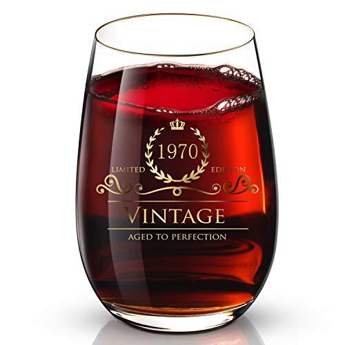 DesBerry 49. Geburtstags- / Jubiläumsgeschenke Weinglas ohne Stiel, Weingläser mit24k Gold handgefertigte Jahreszahl 1970 Universalbecher (1 Stück)
