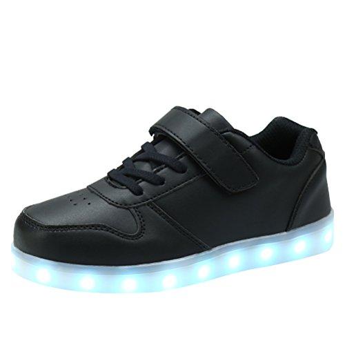 AFFINEST LED leuchtet Schuhe Sneakers mit USB einem Geschenk der Kinder Jungen Mädchen Weihnachten Neujahr (schwarz,32) (Cowboys Halloween Kostüme)