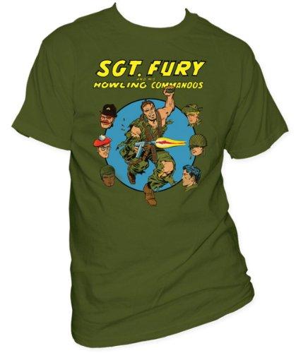 Marvel - Sgt. Seine Wut und Howling Commandos Erwachsene Kurzarm T-Shirt in Military Grün, XX-Large, Military Green (Erwachsene T-shirt Grün Military)