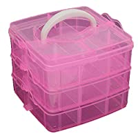 Brussels08 3-Layer Detachable Portable Clear Plastic Ornament Box Holder Carrier Art Craft Jewelry Earring Ring Beads Sewing Accessories Storage Organizer Container Case with Handle Pink