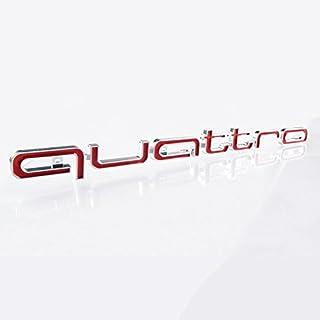 BIOENGIE Front Grill 3D Quattro Embleme Auto Abzeichen Fahrzeug Dekoration, 16,5 x 1,7 inch, 1 Stück, Rot