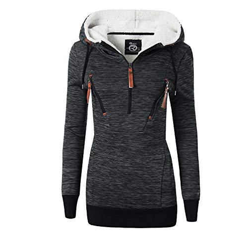 REXOO N921 Damen Jacke Mantel Winterjacke Kapuze Gefüttert Sweatjacke Zipper Hoodie