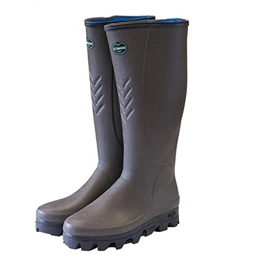 Le Chameau Ceres Neoprene Mens Wellington Boot Marron Fonce Vert Bronze