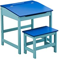 Children Quality MDF Desk and Stool In Pink Blue And Natural Colour For Kids New (Blue)