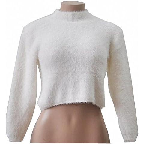 Donne Crop sexy maglione invernale a collo alto a maniche lunghe casuale Short Top