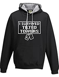 New Adults and Childs 'I Survived Tilted Towers' Fortnite Inspired Gamers Gaming Contrast Hoodie PS4 Xbox PC