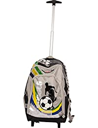 """Simba Winner Team Brazil 16"""" Trolley Bag Boys & Girls Black With Green/Yellow/Blue Wheeled Travel Backpack/Rucksack Dusty Fire & Rescue with Telescopic Handle & Padded Shoulder Straps for Short Breaks"""