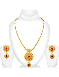Spargz Antique Wedding Wear Gold Plated Ruby Emerald Flower Pendant Set For Women AIPS 287