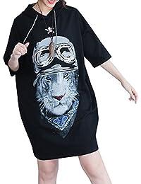 ELLAZHU Femme Été Tigre Imprimé Encapuchonné Demie Manche T-Shirt GA750