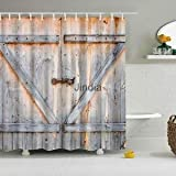 Alcoa Prime Wood Door Print Shower Curtain Sheer Waterproof Panel Decor with 12 Hooks