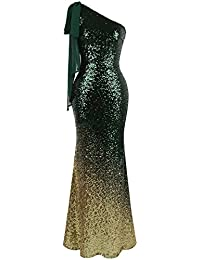 Angel-fashions De las mujeres Asimetrico Cinta Gradual Lentejuela Sirena Vestido largo