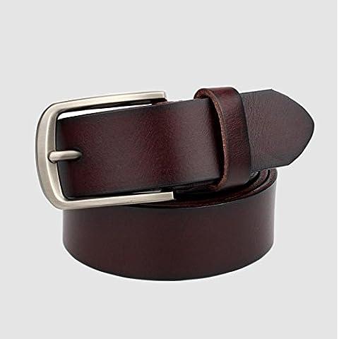 De los hombres de cuero cinturones ocio moda cuero hebilla correa de los hombres , coffee color , 110cm