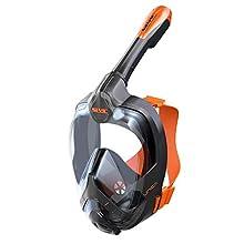 SEAC Kids Sea View Unica + Bag, 180° GoPro Compatible Mask-Panoramic Full Face Fog Anti-Leak Snorkeling Design, Adults, Black/Orange, Small/Medium