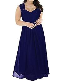 Nemidor Womens Lace Top Deep V-Neck Plus Size Evening Vintage Maxi Dress