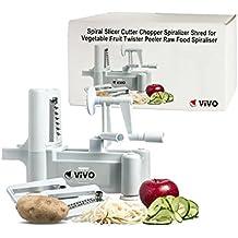 Vivo (C)–Cortador en espiral cortador Chopper rallador en espiral Shred para verduras Frutas pelador de Twister Raw Alimentos Spiraliser