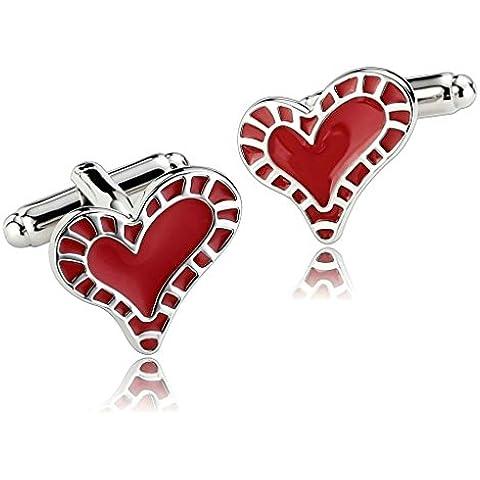 Daesar 2 Piezas Gemelos Hombre Rodio Plateado Blanco Rojo Brillante Tallado Amor Corazón Camisa Alianzas de