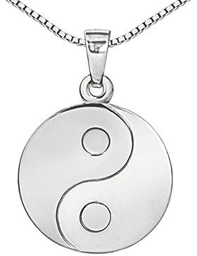 CLEVER SCHMUCK-SET Silberner Anhänger Yin Yang rund als Münze Ø 16 mm seidenmatt und glänzend mit Kette Venezia...