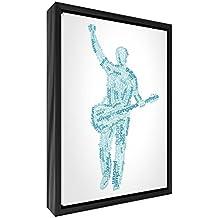 Feel Good Art elegante y moderno, sólido Fronted y multicolor en negro enmarcado pared lienzo en Quirky cuadro macho guitarrista diseño tonos, 95x 64x 3cm (XL), madera, azul, 64x 44x 3cm