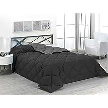 Sabanalia - Edredón nórdico de 400 g , bicolor, cama de 150 cm, color gris y negro