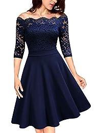 KOJOOIN Damen Spitzenkleid Abendkleider Vintage Brautjungfernkleider für Hochzeit Kurzes A-Linie Cocktailkleid (Gr.34-48)(Verpackung MEHRWEG)