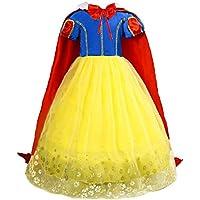 Le SSara Ragazze Principessa Neve Bianco Costume Fantasia Fata vestirsi  Abito Cosplay con Mantellina 722b9c7f6ce