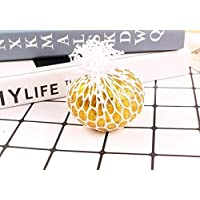 HuXwei 2pcs Squishy Mesh Ball Cute Anti Stress Face Reliever Grape Ball Autism Mood Squeeze Relief Healthy Toy Funny Geek Gadget Vent Toy-Golden