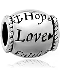 uniqueen Hope Love Faith Oval Perlen Passform Charms Armband Geschenke